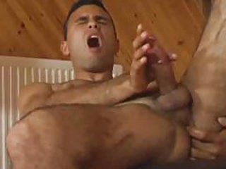 Hairy dude strokes his cock and gets it nice and unchanging