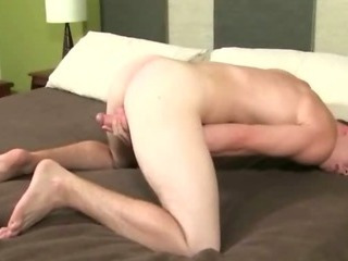 Delicious young sexy student opens his feet wide open