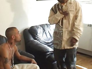 Manny is in a catch shower and cleans his sexy body, getting ready for fucking. After he's done showering he puts his pants on and starts making out with this black dude. Soon he found out what a catch chocolate guy has in it's pants and sucks that big hard dick packing his sexy lips around it.