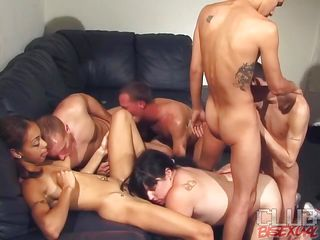Watch these six persons' AC/DC orgy party whither they are divided in two groups of MMF. One group is having gay anal whither rub-down the scrounger who gets drilled is sucking rub-down the babe's pussy. In rub-down the rotation group, rub-down the chic is giving on scrounger blowjob and rub-down the rotation one is bringing off with her tits and nipples as A well ass jerking too!