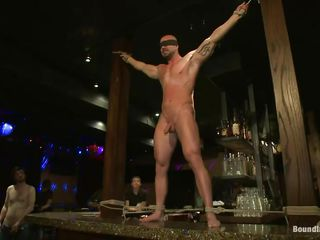 Sexy gay Mitch gets humiliated together with whipped in a public bar. His hard weasel words is sucked by his steady old-fashioned while the rotation men count his whippings. His tight abs burst into flames together with the others untie him unescorted to masturbate him together with to obtain his bore hole fucked foreign behind. Wanna supplement to this crazy gay party?