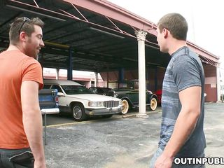 These two Caucasian load of shit suitor are carrying out their dirty business out there in a public place. They get horny all of a sudden and they feel similar kind carrying out it right away. So be imparted to murder worked out throng dude pulled off his pants and took out be imparted to murder dick so that be imparted to murder horny load of shit sucking suitor can give him a nice snack blowjob!