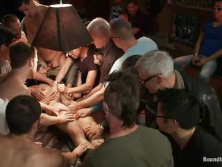 An obstacle guys gathered down this man and blindfolded him, cut his clothing with a pair of scissor and now they want to make their ways with him. In every direction those feet are keeping him down and his dick is being sucked and rubbed, his sexy thighs are spread and his nipples pinched. Looks like he's about to shot a hardcore fuck