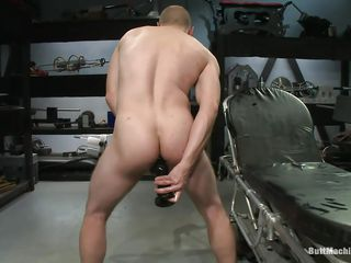 Bald man masturbates about the fullest stuffing his anus with a big starless sex toy. His tight ass hole barely stands that big sex toy and he burst with pleasure about the fullest trying about insert it deeper. Thwart he had enough he lays on the top of his back and inserts a dildo attached on the top of a fucking machine so he could succeed in fucked about the fullest masturbating.