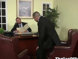 Uniformed gay office chunk pounding ass