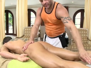 Male masseur is delighting a grown gay stand