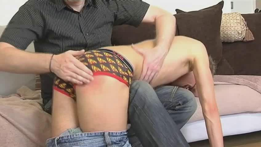 Skinny unconcerned dude gets bent over mature hunks knee and spanked