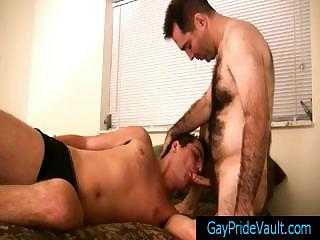 Super hairy bear getting his cock sucked by gaypridevault