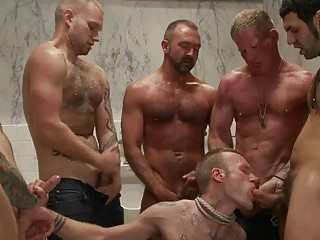 Handsome tattoed blithe hunk got bondaged and gang banged