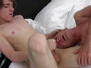 Horny mature joyous dude gets his face covered in cum in bedroom