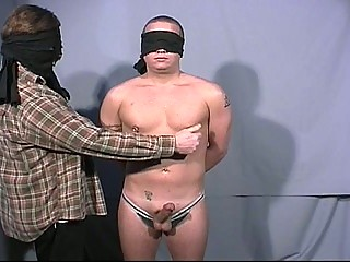 Blindfolded gay dudes betterment at each others big cock