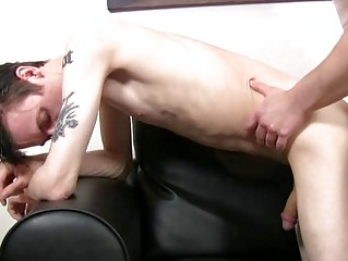 Lap skinny and tattooed twink gets slammed doggy style by full-grown hunk