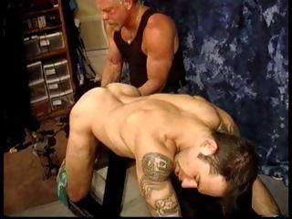 Master Derek Da Silva grabs his slaves balls and ties them in the matter of tight