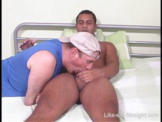 Hot Latino gay gets his cock sucked at the end of one's tether a gay bear on the edging