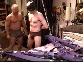 Gay slave gets his cock tortured and his balls busted by his authority