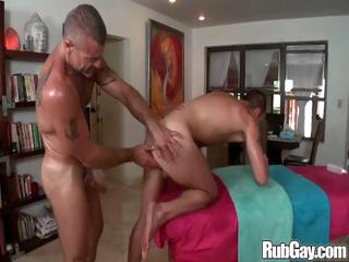 Horny gay masseur hammers his rub-down buyer in his tight man ass