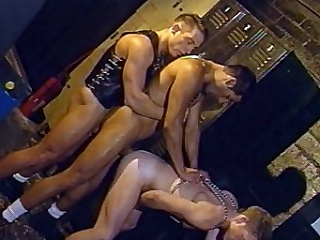 In this scorching hot align sex, three handsome guys in leather...
