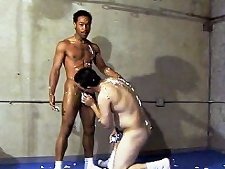 This scorching hot gay interracial sexual congress takes place around a gym, where...
