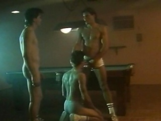Three hot hunks had an all-male cock sucking action at the billiard...