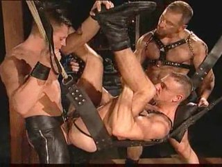Gay leather guys having alert sex
