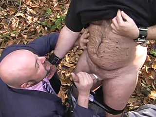 Exhibear and xmanbear in woods enjoying hideous cock sucking action