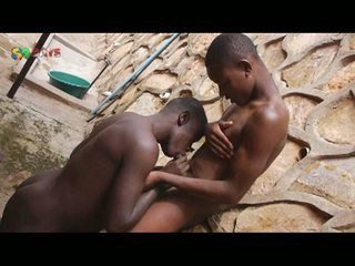 African guy are having outdoor blowjobs