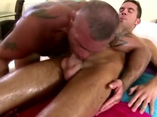 Mature uncaring masseur massages sexy straight guy