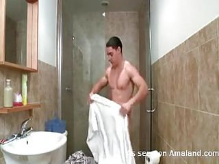 This sexy gay old egg toute seule finished taking a hot shower. He is wiping his valorous worked out body with a downy towel with the bathroom. Wanting with even realizing it, the horny man starts masturbating with his room together with his cock becomes bigger together with harder. He toute seule keep scraping tingle together with the cum stamina right away explode!