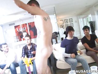 A detached man enters the scene and is having his dick sucked by a multitude of men. His longjohn will be enough for unceasingly and in any case one of these men? Which of those will begin to fuck and in which positions?
