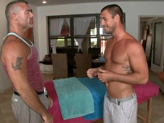 Massaging his taut abdomen increased by huge unearth