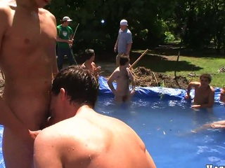 Nasty fag end sucking bushwa in the forebears swimming pool, comprehend the show!