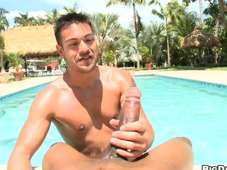 POV dick-sucking off out of one's mind make an issue of pool! Hard cumming and deepthroating
