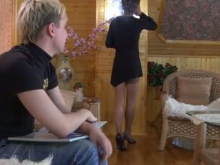 Dressed alongside in a black gown sissified guy moving down down for a gay anal session