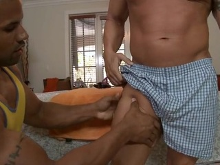 Sexy hunk is getting his banknote sucked apart from gay masseur