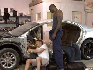 White gay mechanic gets black fucked at feign