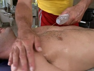 Hunk is pounding stud's anal at near lusty rub down