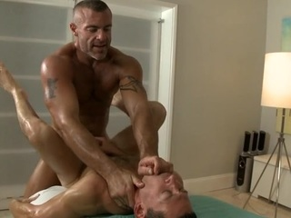 Twink is giving a delightful oral sex for cute gay masseur