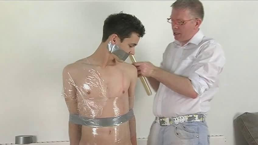 Skinny dark haired gay gets likely with an increment of wrapped equivalent to a mummy