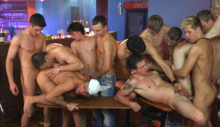 Young twinks having hot gay group sex on table