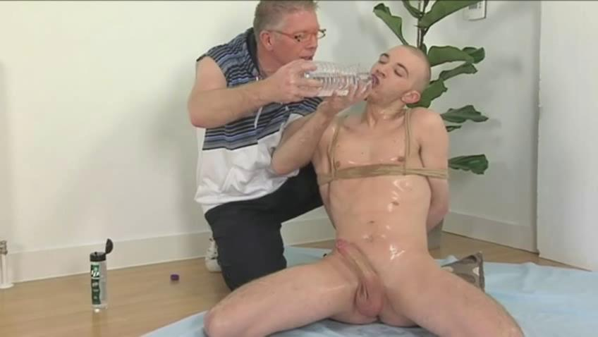 Perverted old man and tied denude twink