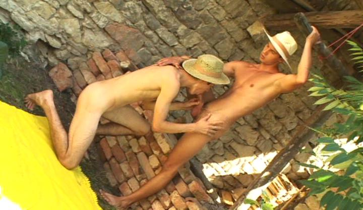 Nasty happy-go-lucky cowboys lick and suck each others unending rod outdoor