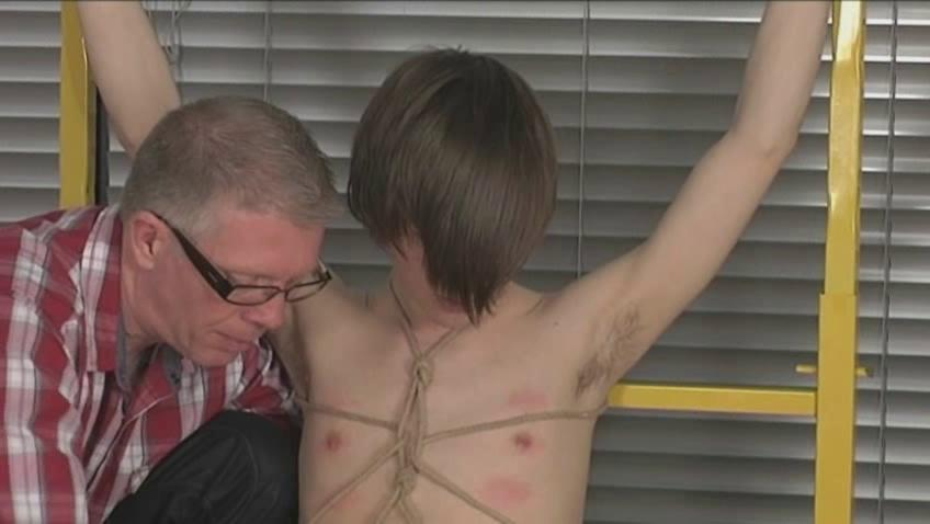 Young gay boy with emo haircut gets tied and pinched and tortured