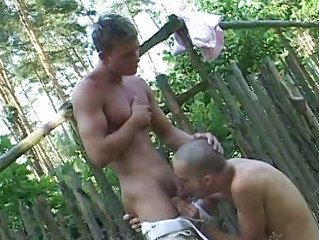 Bald gay twinks and his boi suck each others burrito outdoor