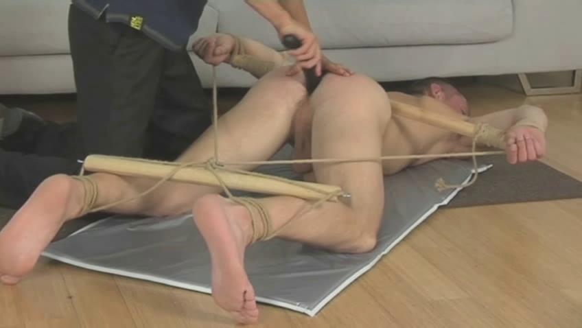 Booked gay fella gets whiped with a horse whip on the floor