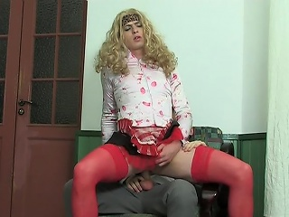Blond sissy guy in female clothes getting ass penetrated in every...