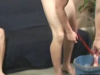 Horny straight tramp tugging on a cock for some money