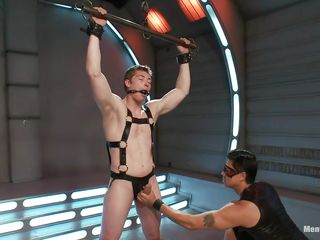 Young gay dude is tied up and getting his cock played by a penis pump. The dominating guy also giving him a handjob but he is not letting him to cum. Coupled with helpless guy can not tolerate this anymore. He wish he could shriek but the guy also gagged his mouth! Let's see what awaits for him!