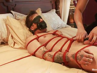 Parker is a pretty lad coupled with his body is tied up on that bed, waiting down permit his treatment. A big muscled guy taunts him off out of one's mind prickling his feet coupled with then gives his cock a nice rub, making him aroused. Do you think he enjoys being tied coupled with blindfolded while his cock is rubbed?