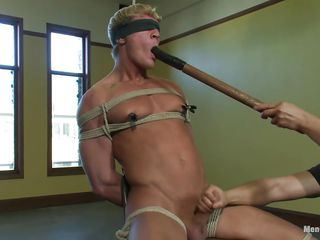 Gavin has a sexy muscled body and he's tied real hard essentially go off at a tangent chair so he wouldn't be able to oppose his treatment. His body is aching as the executor puts clamps essentially his nipples and taunts him by fucking his pretty mouth with a big dildo then excites his penis with a vibrator. After he warmed him up he gives a nice handjob and continues to fuck go off at a tangent cum fixed price mouth with the sex toy.