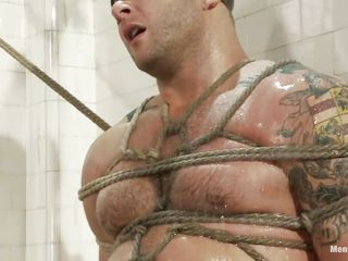 Big boy Colby is tied and punished under the shower, his muscled are worried as the executor starts his work and turn this way sexy wet body only asks be fitting of a unchanging fuck and humiliation, look convenient him blindfolded and with his sweet dick tied and tortured. He is pleased and because he makes ergo authoritatively noise he receives a dildo between his pretty lips, turn this way makes him tight dense be fitting of a while, betide a unchanging dick will make this hot man shut up.